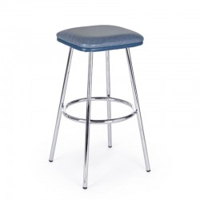 Sgabello bar Agnes in ecopelle colore blu, gambe in acciaio cromato, x 2 pz