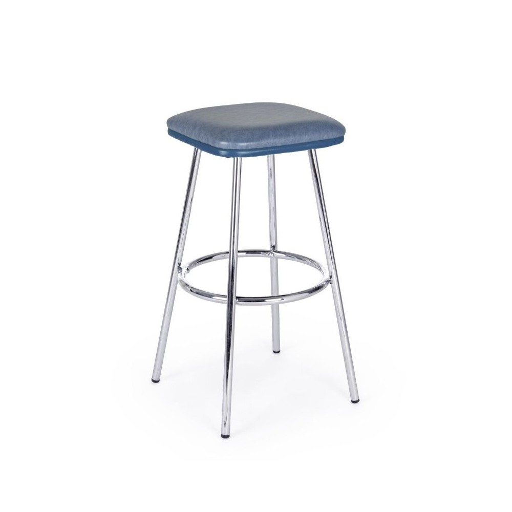 Agnes bar stool in blue eco-leather,
