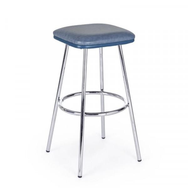 Agnes bar stool in blue eco-leather, chromed steel legs, x 2 pcs