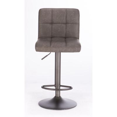 Sgabello bar Greyson rivestimento in similpelle, colore grigio scuro vintage, x 2 pz
