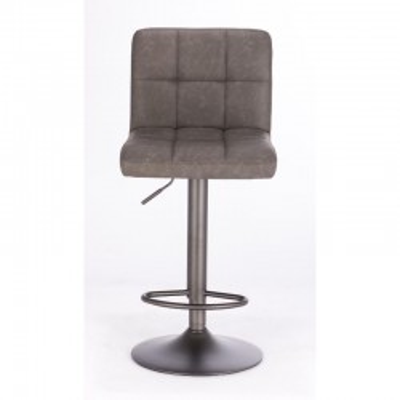 Tabouret de bar Greyson avec revêtement en simili cuir, coloris gris foncé vintage, x 2 pcs