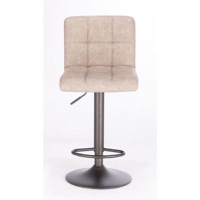 Sgabello bar Greyson rivestimento in similpelle, colore grigio chiaro vintage, x 2 pz
