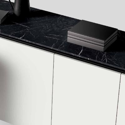 Groove sideboard, white melamine, gray shelves