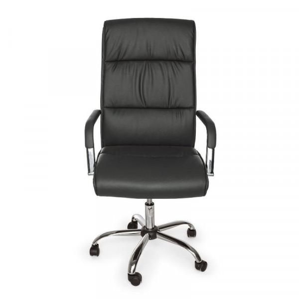 Poltrona ufficio Queensland con braccioli, in similpelle colore grigio scuro