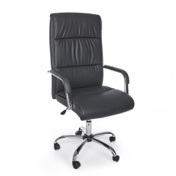 Queensland office armchair with armrests, in dark gray imitation leather