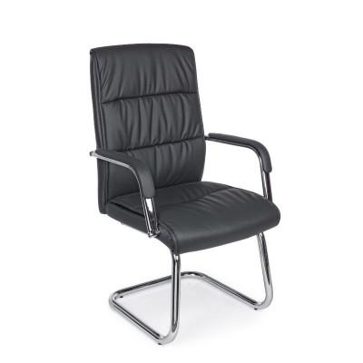 Poltrona ufficio Sydney con braccioli, in similpelle colore grigio scuro, x 2 pz
