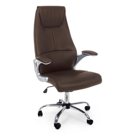 Camberra office armchair in imitation leather, brown color