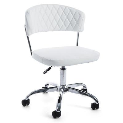 Poltrona ufficio Nausica Pu in similpelle, colore bianco