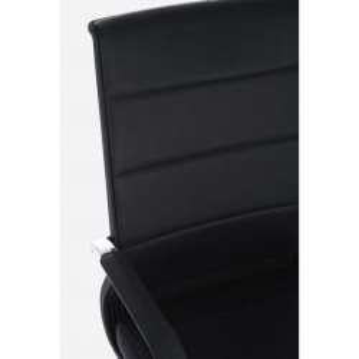 Poltrona ufficio Brent con braccioli in similpelle, colore nero, x 2 pz