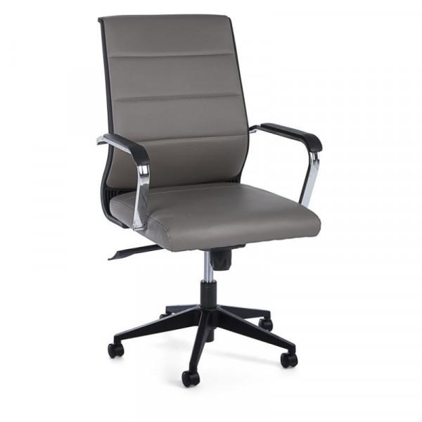 Poltrona ufficio Brent con braccioli in similpelle, colore grigio fango, x 2 pz