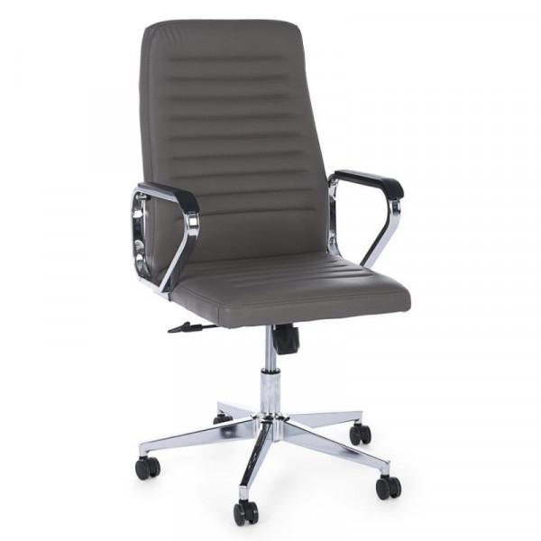 Poltrona ufficio Derek con braccioli in similpelle, colore grigio fango, x 2 pz