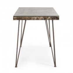 Atlantide desk 130X65, glass and MDF top, with concrete decoration