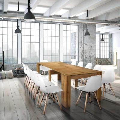 Table console Elba avec 4 rallonges de 45 cm, mélaminé finition chêne noueux