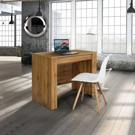 Elba console table with 4 extensions of 45 cm, melamine knotty oak finish