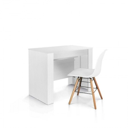Elba console table with 4 extensions of 45 cm, white finish melamine