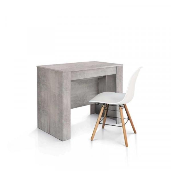 Tavolo consolle Elba con 4 allunghe da 45 cm, nobilitato finitura beton
