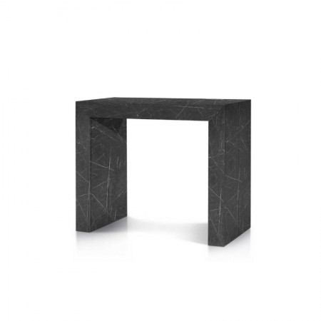 Elba console table with 5 extensions of 50 cm, marble finish melamine