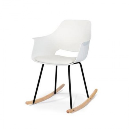 Ontario rocking chair in polypropylene with eco-leather cushion, white color, x 2 pcs