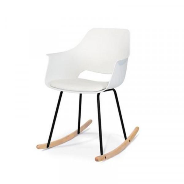 Sedia dondolo Ontario in polipropilene con cuscino in ecopelle, colore bianco, x 2 pz