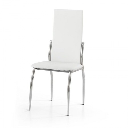 Soledad chair in eco-leather, chromed metal frame, 4 pcs