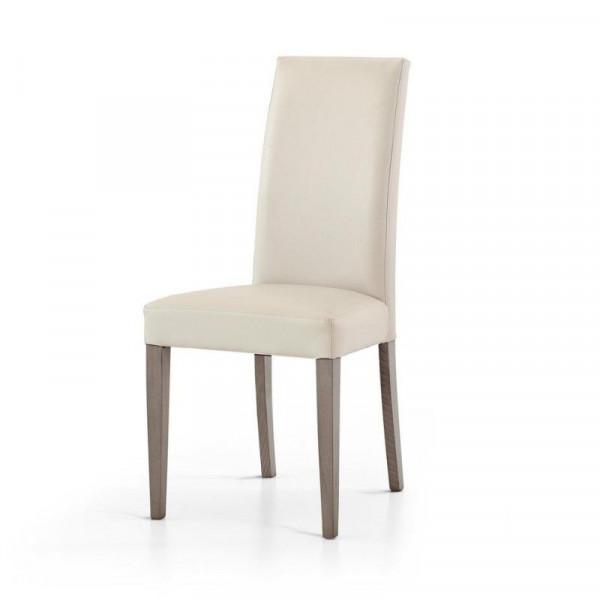 Sedia Gustavo imbottita, in ecopelle, struttura e gambe in faggio, sedia x 2 pz.