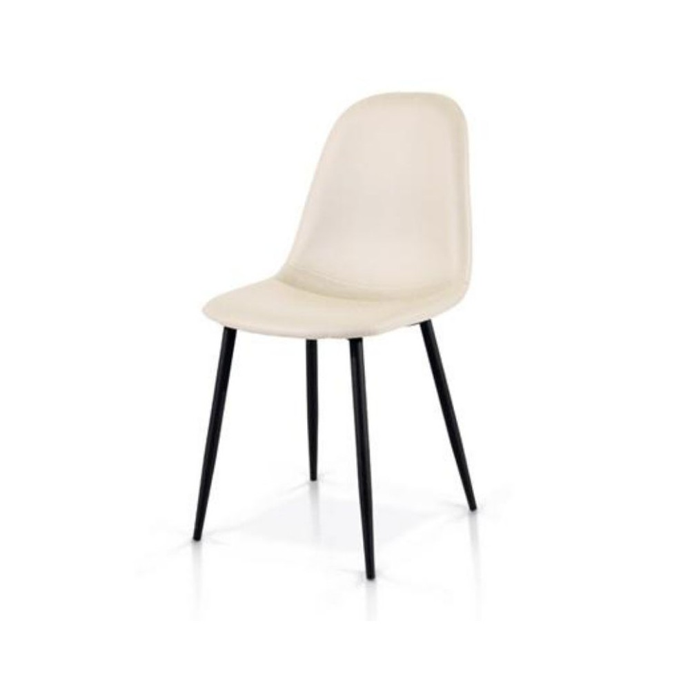 Alyssa chair in eco-leather, metal legs,