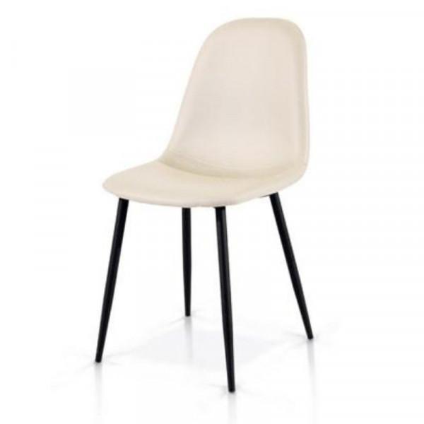 Alyssa chair in eco-leather, metal legs, x 4 pcs