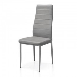 Alma upholstered chair in eco-leather, metal legs, x 6 pcs