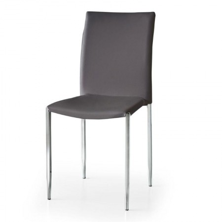 Briana chair in eco-leather, with legs in tubular chromed metal, x 4 pcs