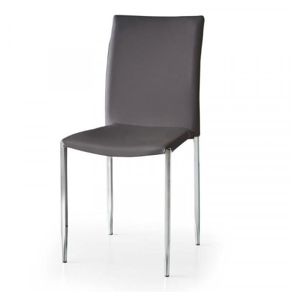 Sedia Briana in ecopelle, con gambe in metallo cromato tubolare, x 4 pz