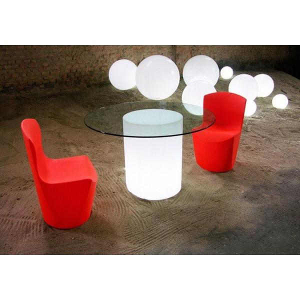 Tavolo tondo Arthur con base luminosa e top in vetro, design Slide Studio