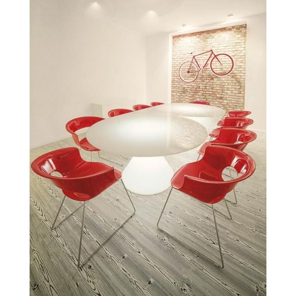 Tavolo luminoso Ed, con base conica realizzata in polietilene e top rotondo in vetro, design Guglielmo Berchicci
