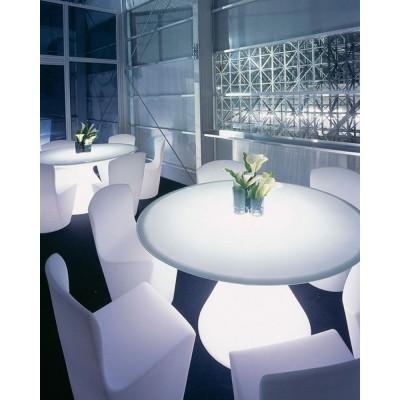 Table lumineuse Ed, avec base conique en polyéthylène et plateau rond en verre, design Guglielmo Berchicci