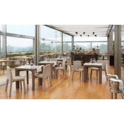 Gino square table, with tempered glass top, design Giò Colonna Romano