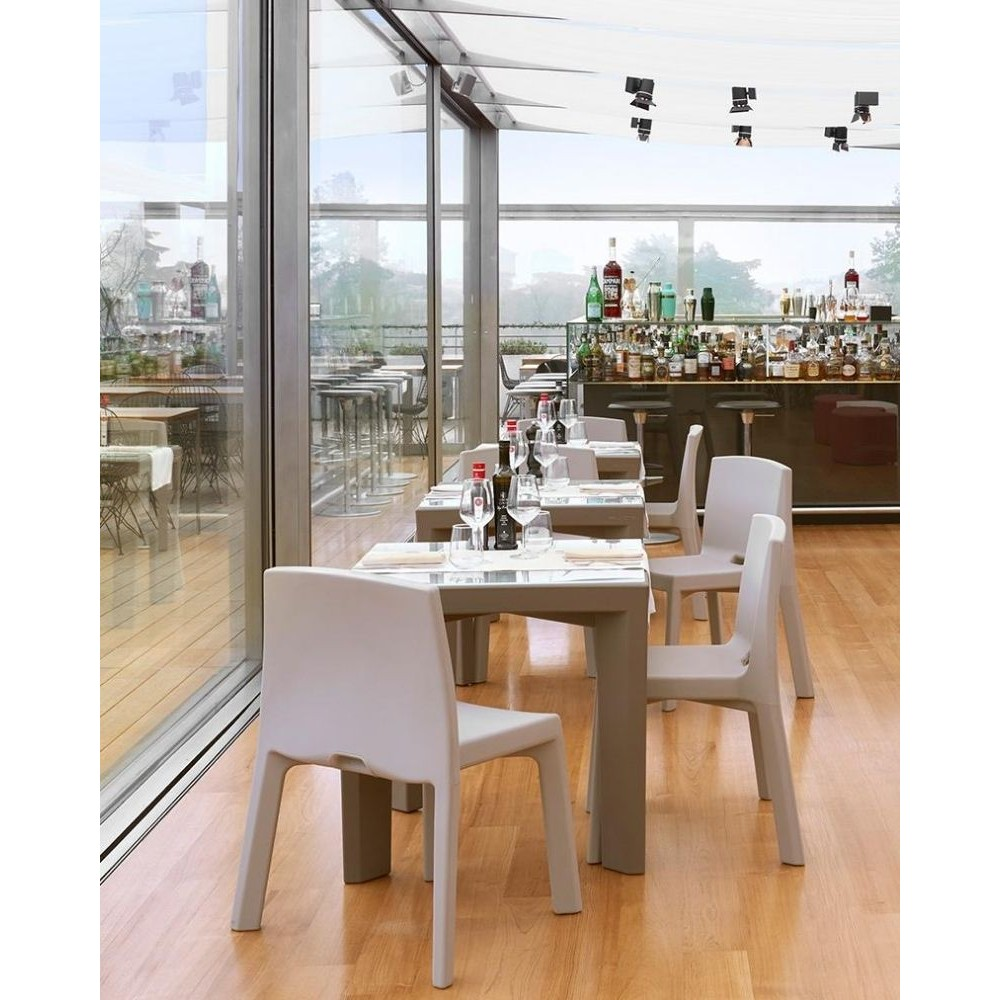 Tavolo quadrato Gino, con top in vetro