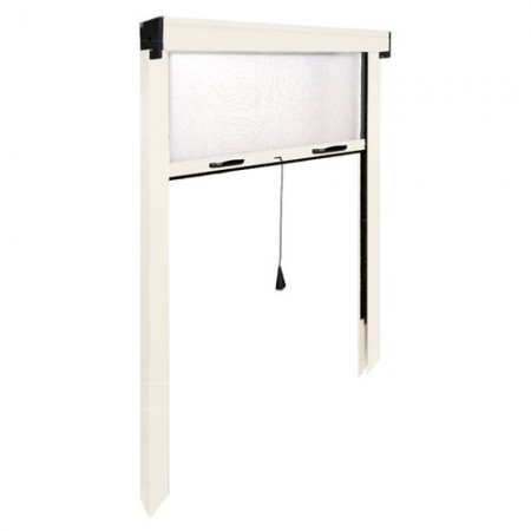 Zanzariera porta Avvolgibile verticale IRS ZV06110025016 L. da 140 a 100 cm h. da 250 a 20 cm Alluminio, colore Bianco