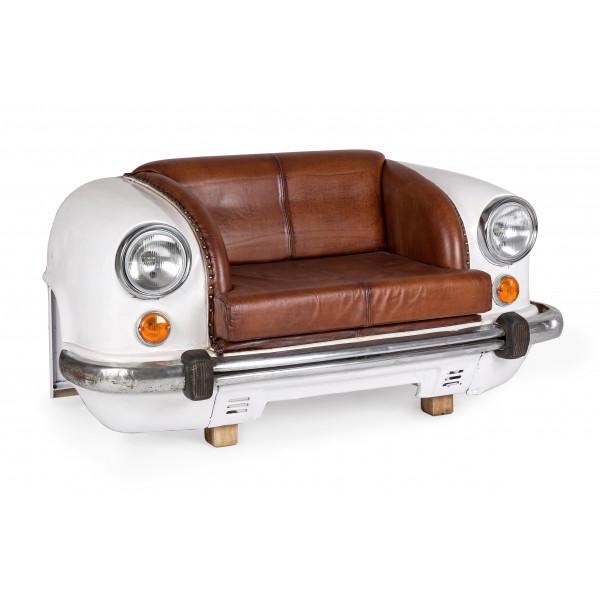 Ambassador 2 seater sofa with genuine buffalo leather seat, white body color