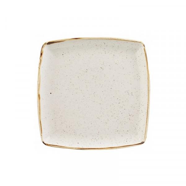 Square ivory plate 26.8 cm Stonecast