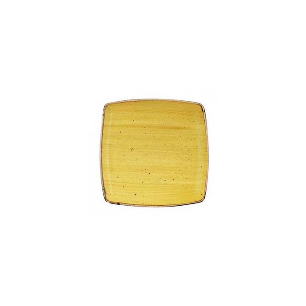 Yellow square plate 26.8 cm Stonecast