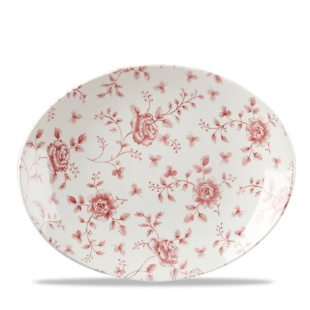 Oval Plate cm 31.7 Vintage-Cramberry Rose