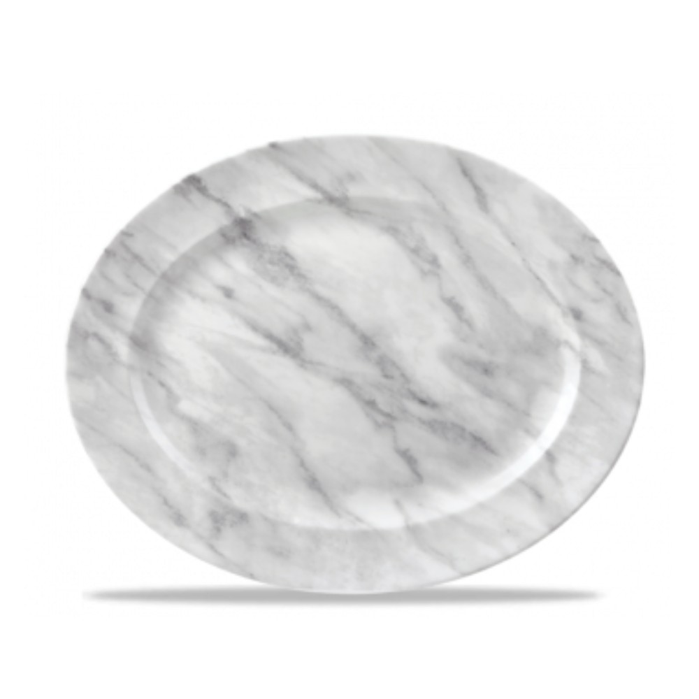 Gray Oval Plate 36 cm gray texture