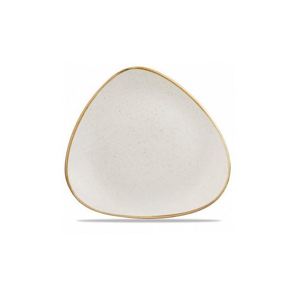Triangular ivory plate 31 cm Stonecast