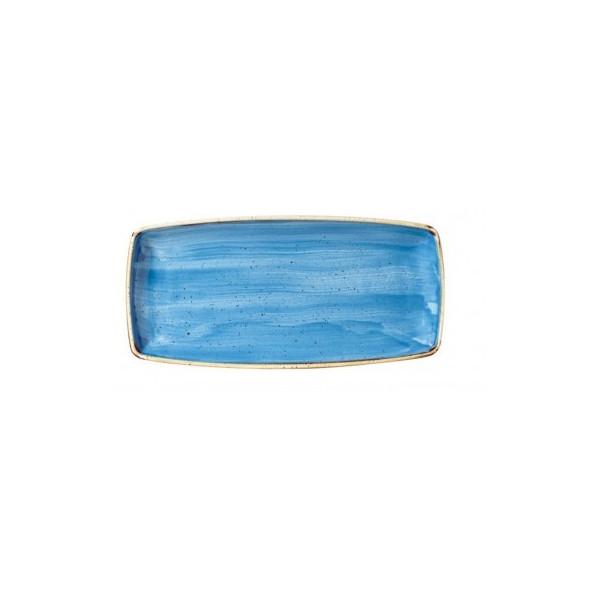 Blue rectangular plate 29 x 15 cm Stonecast