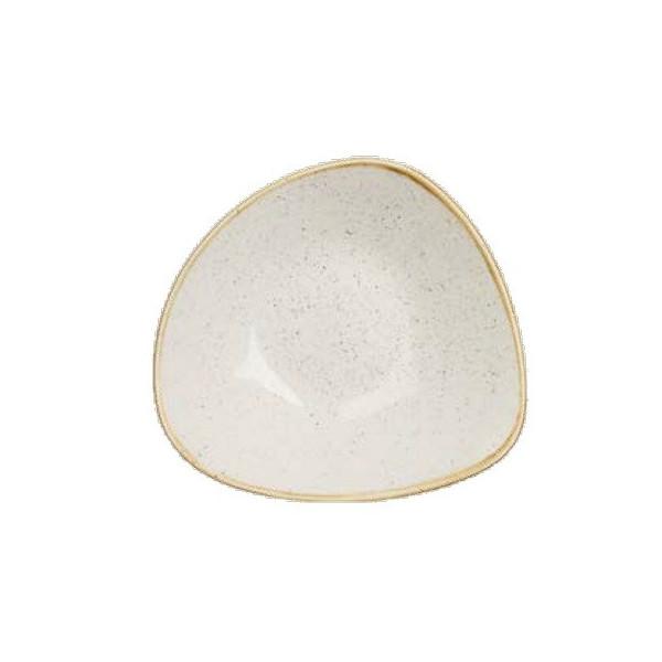 Triangular ivory deep plate 23 cm Stonecast