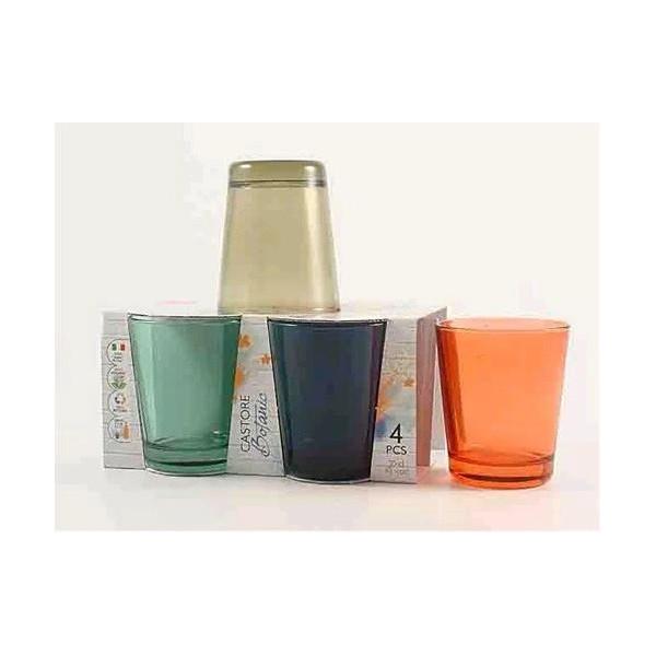 Castore glasses cl 30 assorted colors Botanic pack of 4 glasses