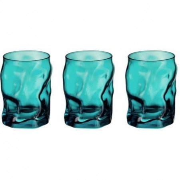 Glasses cl 30 Sorgente Azzurro 3 pieces pack