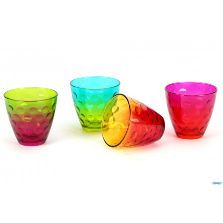 Assorted color glasses 25 cl Dots - Funny 4 pieces pack