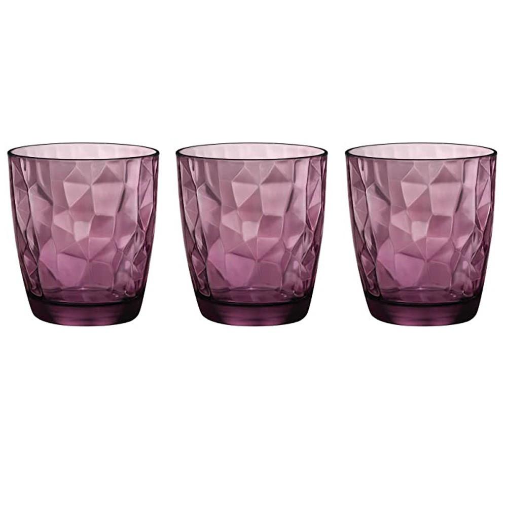 Glasses 30 cl Diamond Purple pack of 3