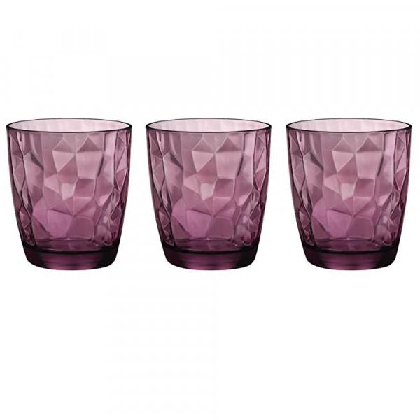 Glasses 30 cl Diamond Purple pack of 3 glasses