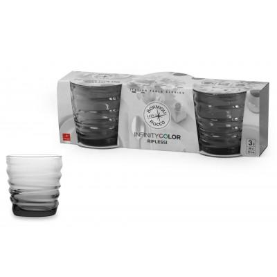 Water glass Riflessi Acqua Light Onyx pack of 3 glasses